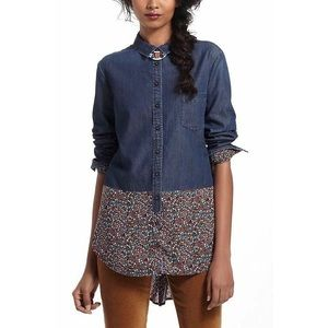 Anthropologie Chambray Button Down Floral Hem